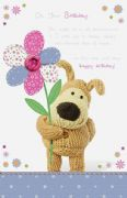 Boofle Holding Flower 'Pop Up' Birthday Card